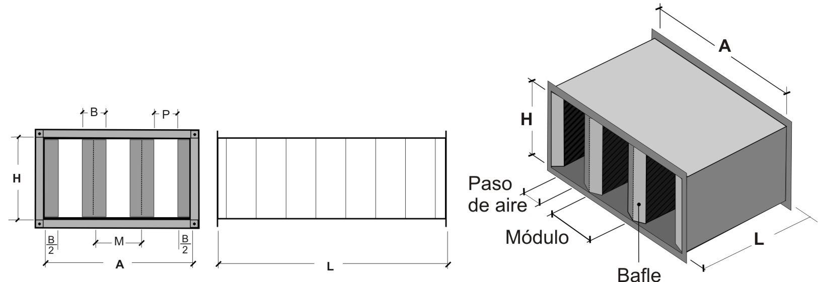Silenciador rectangular